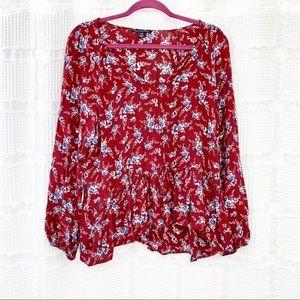 AEO maroon floral boho peasant top XL